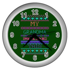 My Grandma Made This Ugly Holiday Green Background Wall Clocks (Silver)