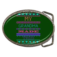 My Grandma Made This Ugly Holiday Green Background Belt Buckles