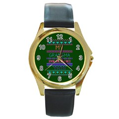 My Grandma Made This Ugly Holiday Green Background Round Gold Metal Watch