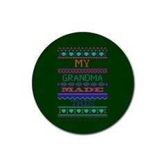 My Grandma Made This Ugly Holiday Green Background Rubber Round Coaster (4 pack)