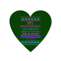 My Grandma Made This Ugly Holiday Green Background Heart Magnet