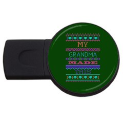 My Grandma Made This Ugly Holiday Green Background USB Flash Drive Round (2 GB)