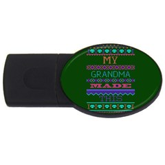 My Grandma Made This Ugly Holiday Green Background USB Flash Drive Oval (1 GB)