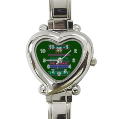 My Grandma Made This Ugly Holiday Green Background Heart Italian Charm Watch