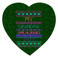 My Grandma Made This Ugly Holiday Green Background Jigsaw Puzzle (Heart)