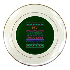 My Grandma Made This Ugly Holiday Green Background Porcelain Plates