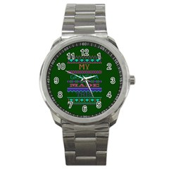 My Grandma Made This Ugly Holiday Green Background Sport Metal Watch