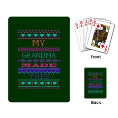 My Grandma Made This Ugly Holiday Green Background Playing Card