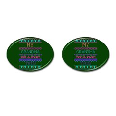 My Grandma Made This Ugly Holiday Green Background Cufflinks (Oval)