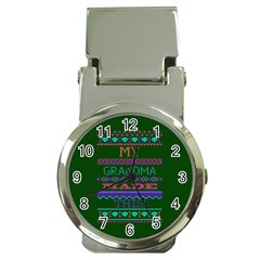 My Grandma Made This Ugly Holiday Green Background Money Clip Watches