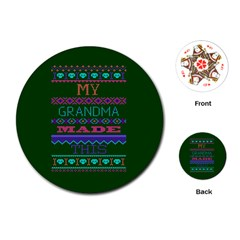 My Grandma Made This Ugly Holiday Green Background Playing Cards (Round)