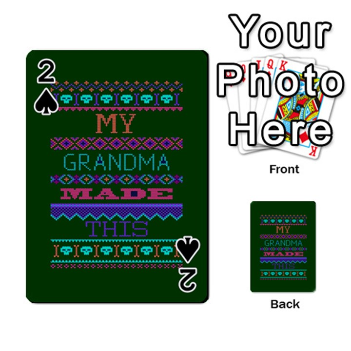 My Grandma Made This Ugly Holiday Green Background Playing Cards 54 Designs