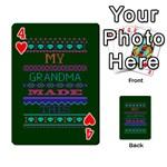 My Grandma Made This Ugly Holiday Green Background Playing Cards 54 Designs  Front - Heart4