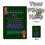 My Grandma Made This Ugly Holiday Green Background Playing Cards 54 Designs  Front - Heart8