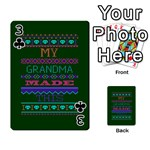 My Grandma Made This Ugly Holiday Green Background Playing Cards 54 Designs  Front - Club3