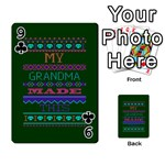 My Grandma Made This Ugly Holiday Green Background Playing Cards 54 Designs  Front - Club9