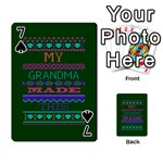 My Grandma Made This Ugly Holiday Green Background Playing Cards 54 Designs  Front - Spade7