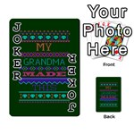 My Grandma Made This Ugly Holiday Green Background Playing Cards 54 Designs  Front - Joker1