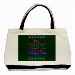 My Grandma Made This Ugly Holiday Green Background Basic Tote Bag