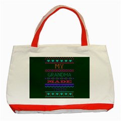My Grandma Made This Ugly Holiday Green Background Classic Tote Bag (Red)