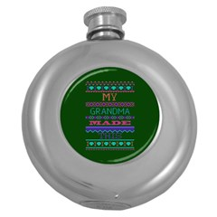 My Grandma Made This Ugly Holiday Green Background Round Hip Flask (5 oz)