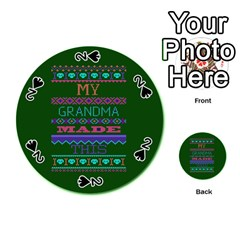 My Grandma Made This Ugly Holiday Green Background Playing Cards 54 (Round)