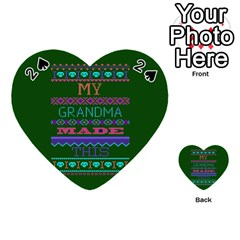 My Grandma Made This Ugly Holiday Green Background Playing Cards 54 (Heart)