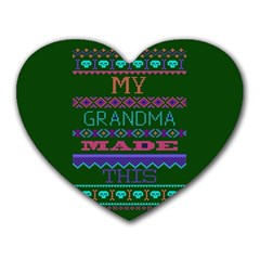 My Grandma Made This Ugly Holiday Green Background Heart Mousepads