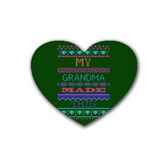 My Grandma Made This Ugly Holiday Green Background Heart Coaster (4 pack)