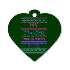My Grandma Made This Ugly Holiday Green Background Dog Tag Heart (Two Sides)
