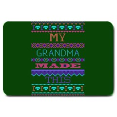 My Grandma Made This Ugly Holiday Green Background Large Doormat