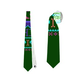 My Grandma Made This Ugly Holiday Green Background Neckties (One Side)