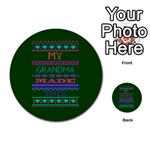 My Grandma Made This Ugly Holiday Green Background Multi-purpose Cards (Round)  Back 3