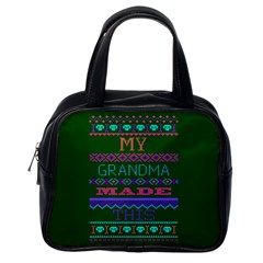 My Grandma Made This Ugly Holiday Green Background Classic Handbags (One Side)