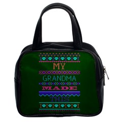 My Grandma Made This Ugly Holiday Green Background Classic Handbags (2 Sides)