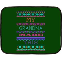My Grandma Made This Ugly Holiday Green Background Double Sided Fleece Blanket (Mini)