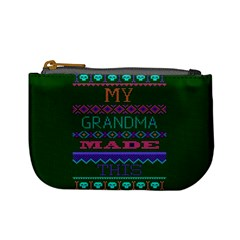 My Grandma Made This Ugly Holiday Green Background Mini Coin Purses