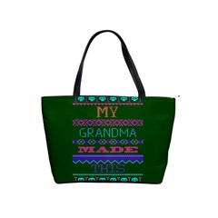 My Grandma Made This Ugly Holiday Green Background Shoulder Handbags