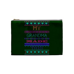 My Grandma Made This Ugly Holiday Green Background Cosmetic Bag (Medium)