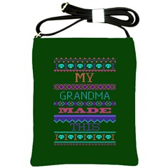 My Grandma Made This Ugly Holiday Green Background Shoulder Sling Bags