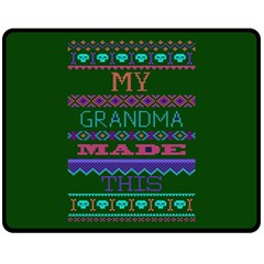 My Grandma Made This Ugly Holiday Green Background Fleece Blanket (Medium)