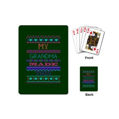 My Grandma Made This Ugly Holiday Green Background Playing Cards (Mini)