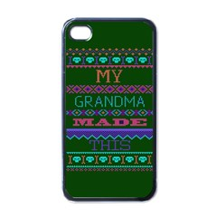 My Grandma Made This Ugly Holiday Green Background Apple iPhone 4 Case (Black)