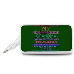 My Grandma Made This Ugly Holiday Green Background Portable Speaker (White)