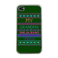 My Grandma Made This Ugly Holiday Green Background Apple iPhone 4 Case (Clear)