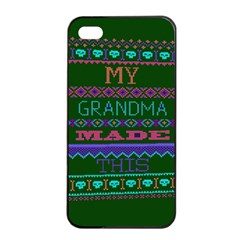 My Grandma Made This Ugly Holiday Green Background Apple iPhone 4/4s Seamless Case (Black)