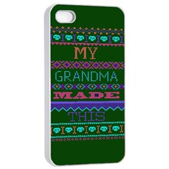 My Grandma Made This Ugly Holiday Green Background Apple iPhone 4/4s Seamless Case (White)