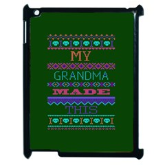 My Grandma Made This Ugly Holiday Green Background Apple iPad 2 Case (Black)