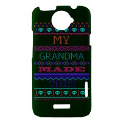 My Grandma Made This Ugly Holiday Green Background HTC One X Hardshell Case