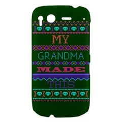 My Grandma Made This Ugly Holiday Green Background HTC Desire S Hardshell Case